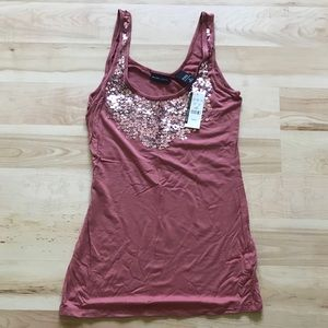 Pink sequined Stretch tank top NWT